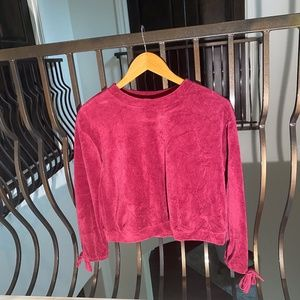 red velvet long sleeve top